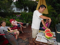 Wally-melon party (Just Back) Tags: neighbors summer juicy knife citrullus fruit berry backyard deck columbia sc cut patio rind flesh sugar boy girl love family trump hillary fun heat