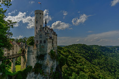 Castle on a Rock (kanaristm) Tags: honau germany schloss castle cliff sheer green white blue sky rock copyright2016tmkanaris copyright2016kanaristm kanaris kanarist kanaristm tkanaris tmkanaris tmk tmks europe berg tower flag forest badenwrttemberg swabian alb nikon d800e d800 lichtenstein