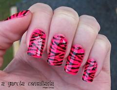 Nail Art: Zebra (Pink) (A Garota Esmaltada) Tags: agarotaesmaltada unhas esmaltes unhasdecoradas unhasartísticas nails nailpolish naildesign nailart zebra animalprint rosa pink