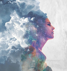 Never Stop Dreaming (Alyssa Mort) Tags: alyssamort portrait selfportrait art doubleexposure girl indoor stars cloudportrait milkyway surreal conceptual canon 50mm dreamy dreaming