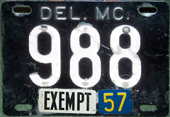 * Delaware exempt motorcycle (sixes & sevens) Tags: 1956 license plates licenseplates de delaware notmyplate
