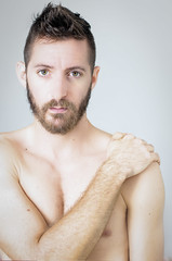 (Damien Cox) Tags: selfportrait autorretrato portrait self i ego myself me moi beard stubble scruff nikon male man masculine damiencoxcouk damiencox face eyes ears forearm uk