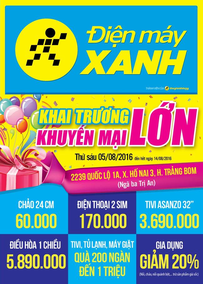 Khai trương siêu thị Điện máy XANH Trảng Bom, Đồng Nai