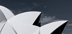 IMG_8232 The opera house and the moon in ash colour (almost B&W) (Rodolfo Frino) Tags: opera operahouse sydney moon blackandwhite almostblackandwhite ash ashcolour monochrome monochromepicture monochromephoto monochromephotograph clouds trip travelagency tour sydneytour