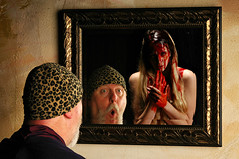 """The Morning I said """"Bloody Mary Bloody Mary Bloody Mary"""" thinking I would get a hearty morning cocktail (Studio d'Xavier) Tags: werehere spookylicious bloodymary ghost mirror spooky bloody 365 september282016 272366 reflection"""