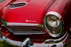 Beautiful Red Kaiser in HDR (eoscatchlight) Tags: red arizona classiccar chrome headlight scottsdale kaiser grille hdr photomatix goodguyscarshow