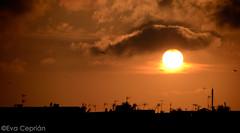Atardecer en la Barceloneta, Barcelona - Sunset in Barceloneta, Barcelona (Eva Ceprin) Tags: barcelona city sunset orange sun sol clouds ciudad roofs barceloneta nubes puestadesol naranja tejados antennas antenas nikond3100 tamron18270mmf3563diiivcpzd evaceprin
