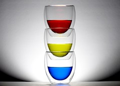 Stacked (nikagnew) Tags: blue red 3 tower water glass lines yellow backlight glasses three curves backlit foodcolouring