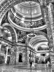 Big World (tonyair767) Tags: people bw white black art monochrome buildings mono couples places capitol tall hdr e510 greytone
