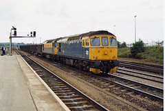 33030 33065 Westbury (British Rail 1980s and 1990s) Tags: br britishrail class33 33030 33065 westbury 33 train rail railway station diesel loco locomotive freight railfreight 90s 1990s sulzer type3 nineties livery trains brcw liveried blue traction railways