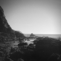 Life on Mars [Gnome Pixie] (Mr B's Photography) Tags: film 120 620 porthtowan beach longexposure rocks rockpool blackandwhite paranol fomapan gnome pixie cliff sea water weldingglass