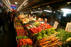A vegetable stand at Pike Place Market (mommyster) Tags: seattle wall gum market pikeplace