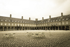 In the Square (gabi-h) Tags: ireland windows people dublin window lines sepia architecture square chairs perspective arches courtyard tourists cobblestones tables chimneys imma gabih windowswednesday irishmuseummodernart