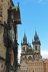 Church of Our Lady before Týn across the Old Town Square in Prague with the Astronomical Clock (travelmag.com) Tags: old clock czech prague historic astronomical churchofourladybeforetýn
