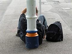 Mobile phone (Wider World) Tags: england station platform luggage passengers traveller backpack mobilephone wareham