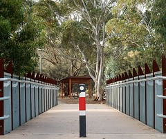 The Shelter of Perspective (mikecogh) Tags: adelaide parklands bridge posts path perspective cryptic