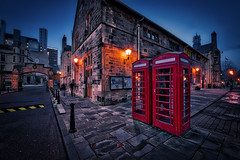 Glasgow calling (Jim Nix / Nomadic Pursuits) Tags: 1424mm aurorahdrpro englishphonebooth europe glasgow hdr jimnix lightroom macphun nikon nomadicpursuits scotland universityofglasgow architecture bluehour photography travel wideangle