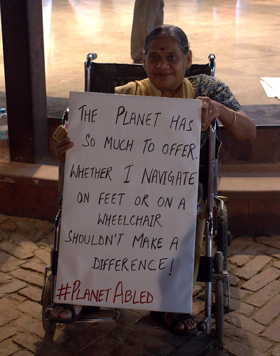 Poster Campaign: 'The planet has so much to offer. Whether I navigate on feet or on a wheelchair shouldn't make a difference', says a poster.