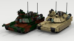 Woodland and Desert M1A2 Abrams (TheRookieBuilder) Tags: m1a2 abrams mbt armored tracked military lego legodigitaldesigner ldd2povray