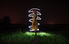 illumination (maksimermak) Tags: freezelight light grass  field glow color green dress girl night          stars nikon nikond3100