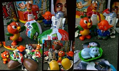Hatchy Fun in Hatchy Town (John 3000) Tags: collage mystery advertising toy toys starwars egg disney kinder mascot r2d2 surprise eggs series juguetes droid sorpresa hatching sato satochan kindertoy elsiethecow niespodzianka floridaorangebird
