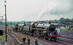 "75019 + 75027 at Skipton, Yorkshire.   28th July 1968.  ""Farewell to B.R. Steam"" rail tour (photo 4 of 7) (Brit 70013 fan) Tags: tour br yorkshire engine photographers rail steam british 1968 railtour standard railways trainspotting steamengine skipton 75019 britishrailways trainspotters 75027"