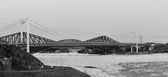 Panorama-Les-Ponts-De-Quebec-N&B.jpg (fortinchristian) Tags: cn qubec soir printemps glace fleuve couchersoleil pontdequbec pontpierrelaporte canadiennational tourshydroquebec