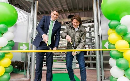 100mm Geel Lint zonder Bedrukking Opening Praxis Tuincentrum door Lodewijk Hoekstra van Eigen Huis en Tuin
