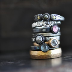 leaning rings (2trickpony) Tags: 2 rose yellow silver gold los hammered cut jewelry diamond rings pony 14k sterling trick forged patina sapphire