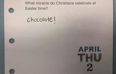 Calendar trivia (Ticklesocks) Tags: silly alex easter funny calendar chocolate joke april ash genius sacrilige