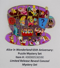 Alice in Wonderland 65th Anniversary Puzzle Mystery Set - Disneyland Purchase - Assembled Over Promo Image (drj1828) Tags: us disneyland dlr dl60 pin disneypintrading purchase 2016 limitedrelease aliceinwonderland 65th anniversary puzzle set mystery assembled