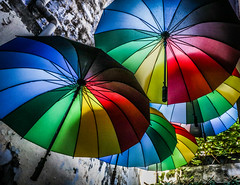 Floating umbrellas (calysta.bleasby) Tags: malaysia penang georgetown shade multicoloured umbrella