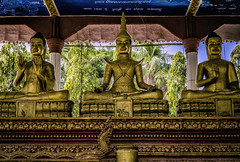 Yeay Peau Temple (Baron Reznik) Tags: horizontal temple gold asia asien cambodia buddhist religion peaceful buddhism buddhisttemple spirtuality handgesture  kampuchea  colorimage  tonlebati kingdomofcambodia prasat   canon24105mmf4lis  yeaypeau    takaeo takoprovince  theravdabuddhism