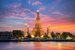 Wat Arun (anekphoto) Tags: bangkok wat arun thailand thai travel river night asia religion water tower prang holiday myanmar east buddhism famous background attract phraya oriental sunrise landmark culture chaopraya attraction skyline chedi dusk twilight traditional stupa spirituality religious church architecture city temple vacations sunset boat tourism chao ancient beautiful silhouette southeast shrine cityscape