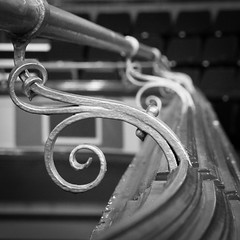 Parr Hall railings 02 jul 16 (Shaun the grime lover) Tags: balcony rail railing handrail bracket curlicue curled warrington building decorations monochrome parrhall cheshire