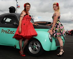 Rachael & Melanie_7038 (Fast an' Bulbous) Tags: girl girls woman women hot sexy car vehicle automobile willys coupe v8 fast speed power drag race strip track pits santa pod dragstalgia england people outdoor