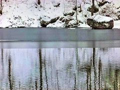 Winterly Tristesse at a Quarry Pond 07 (MJWoerner49) Tags: outdoor nature gloominess murkiness rees weather winter ice rocks structure surface reflection cold frosty winterly wintery wintry lake pond pool quarry quarrypond glacial icy