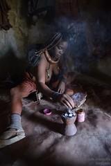 The perfume! (marcomariamarcolini) Tags: himba fire woman namibia ritratto portrait tribe africa viaggio travel marcomariamarcolini ngc nikon nikkor reflex perfume profumo fuoco tenda donna skin care black red clay