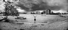 Alone at the beach (photomatic.se) Tags: ifttt 500px swimming summer cloud dramatic water beach sand lake boy gesture pose winner
