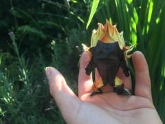 Baby Balrog (edg82) Tags: balrog origami chibi hanji itajimeshi paper folded flames firesprite shadow tolkein lordoftherings silmarillion maiar morgoth moria iris lavendar hand tiny