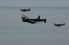 Memories (crusader752) Tags: battleofbritainmemorialflight bbmf battleofbritain avro lancaster wwii bomber supermarine spitfire hawker hurricane formation englishchannel beachyhead airbourne eastbourne seafront airshow 2016 sea water horizon aircraft fighters fighter trio