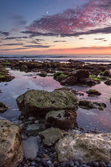 Freshwater Moonrise (Ricky Staines) Tags: moonrise rockpools freshwater sunset coast beach