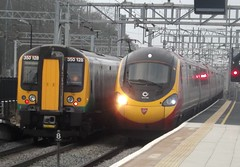 Running on the slow lines, a Virgin Class 390 Pendolino