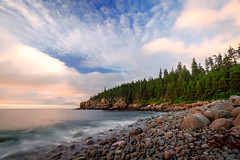 Sunrise on Otter Cliffs from Pebble Beach (The Burgys) Tags: landscape acadia nationalpark acadianationalpark maine coast coastal beach mountdesertisland mdi sunrise clouds ocean color rocks granite sony a99 sonya99 zeiss zeiss1635 summer polarizer wideangle
