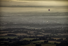 Early flight (MarkWaidson) Tags: virgin thehive malvernhills droitwich mist sunrise worcester balloon