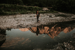 mirror [explore] (mrnnw) Tags: mirror reflection mountains mountain puddle girl nature water sunset travel ehrwald tirol tyrol austria sterreich