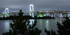 Rainbow Bridge,Tokyo Odaiba (sapphire_rouge) Tags: shore  bridge  beach seaside   japanese   tokyobay  rainbowbridge coast japan bay nightview aoumi    wangan rinkaihukutoshin kotoku