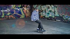Cinematic #2 - JJ Style (Sean Batten) Tags: london england unitedkingdom gb cinematic lensflare southbank city urban nikon df 60mm streetphotography street skateboard graffiti