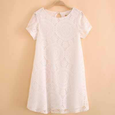 Adding fertilizer XL women's summer 2016 new wave Korean version of easy openwork lace dress with short sleeves women