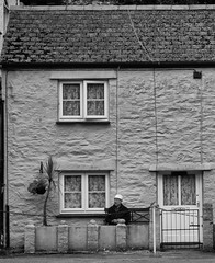 Just watching the World (wi-fli) Tags: cornwall elderly man watching house cottage outside pentewan terraced